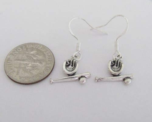 Sterling Silver 12mm Small Baseball bat &, Glove Miniature Dangle Earrings - Jewelry Accessories Key Chain Bracelet Necklace - Amp & Barnes
