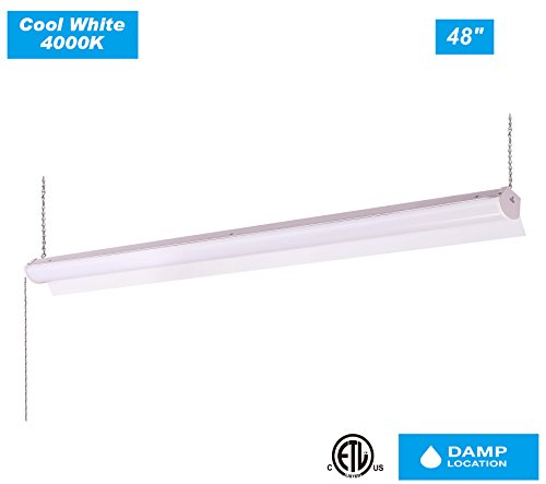 Cloudy Bay LSL4838840WH 4 Ft LED Shop Light Ceiling Fixture Linkable 4000K Cool White 39W 3000lm -300W Incandescent Equivalent with Hanging chain,workshop garage basement use, Pull Chain