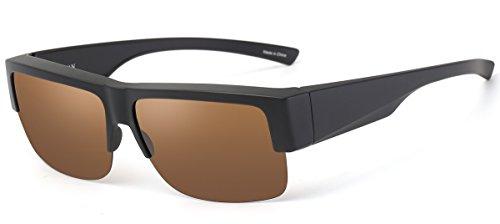 CAXMAN Wear Over Glasses Sunglasses Polarized Lens for Prescription Glasses, Medium Sized Half Frame, Matte Black Frame Brown - Tortoise Frame Brown Lens Bronze