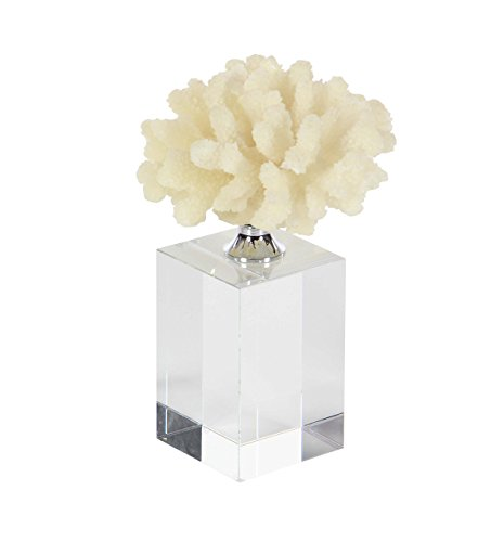 Deco 79 35755 White Coral Table Sculpture with Rectangular Base, 9