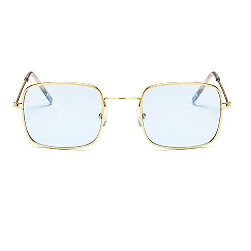 Lunettes océan Blue And lunettes petit de soleil de verre soleil carré transparent lentille Rétro soleil Golden Frame Lens cadre Transparent ranqArCwv