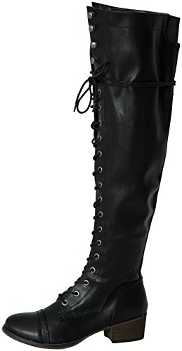 Breckelles Women's Alabama-12 Knee High Riding Boots (8.5, Black)