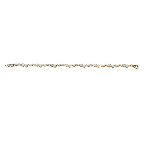 Diamond Heart and Wings 18k Gold over .925 Silver Ankle Bracelet (.13 cttw, I Color, I1 Clarity) 9