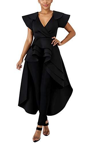 (Fashion High Low Tops for Women - Unique Ruffle Off Shoulder Tunic Shirt X-Large Black)