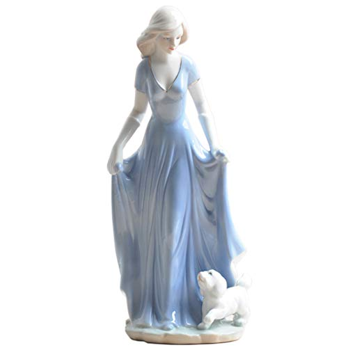 Figurines Porcelain Woman - Amperer Ceramic Girl Statue Porcelain Lady Walking a Dog Figurine Home Accessories Modern Style Art Sculpture (4# Walk The Dog)