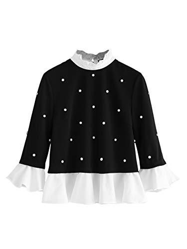 SheIn Womens Cute Long Sleeve Ruffle Hem Sweatshirt Contrast Collar Top