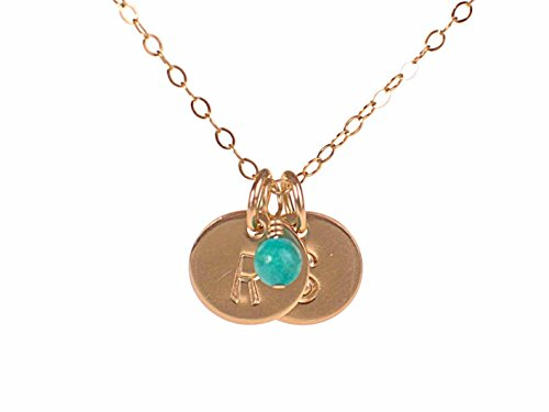 EFYTAL Tiny Gold Filled 2 Initial Necklace Choose Birth Month Charm, Dainty Personalized Custom Discs