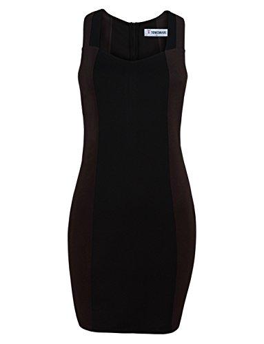 90 S Dress (Tom's Ware Women Elegant Square Neck Short Sleeve Bodycon Dress TWCWD091-90-BROWN-US XXL)