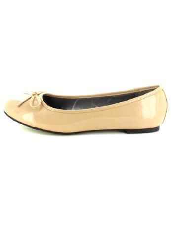 Andres Machado Damen Ballerinas - Lack Beige Schuhe in Übergrößen