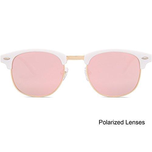 C06 Verres Rose Lunettes Optique Blanc Clair Polarisé Cadre Clubmaster Lentille SJ5018 Cadre SOJOS YAgxZTw8nn