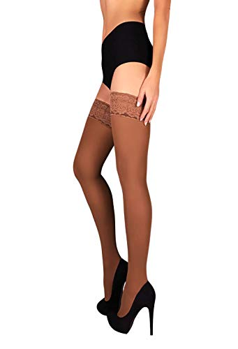THIGH HIGH Opaque Lace Top Silicone Stockings Nylon Hosiery 100 Denier S M L XL (S, Beige)