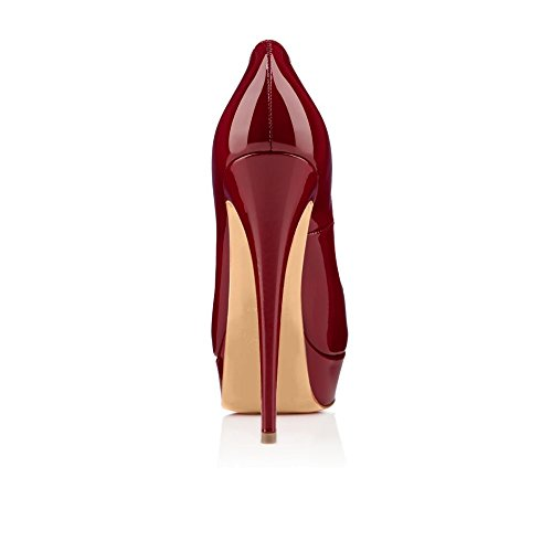 EDEFS Damen Pumps High Heels Plateaupumps Lack Stiletto Peep Toe Schuhe Party Abendschuhe Bordeaux