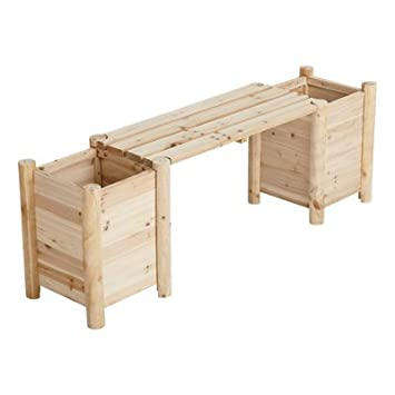 Cedar/Fir Bench With Side Planters   Natural Cedar/Fir (Cunninghamia  Lanceolata)