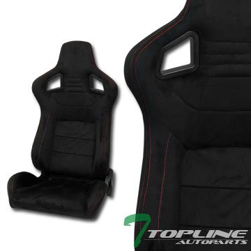(Topline Autopart Universal 2X MU Style Black Simulated Suede Red Stitch Reclinable Racing Bucket Seats with Slider)