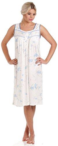 misto Camicia Blue notte da Disponibile Sleeveless Jersey 36 Pigiama taglie Donna amp; da in 10 Floreale cotone notte camicia 8xTHwEY0