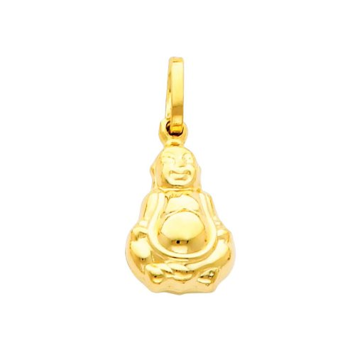 The World Jewelry Center 14k Yellow Gold Buddha Pendant with 1.2mm Cable Chain Necklace