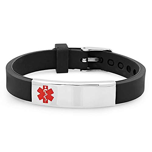 (LiFashion LF Mens Womens Kids Stainless Steel Silicone Personalized ICE Medical Alert Bracelet,Free Engraved Customized Adjustable Black Rubber Medical ID Bracelets Sos Emergency for Teen,Adult,Child)