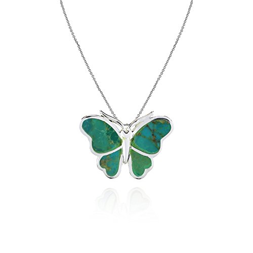 (Sterling Silver Simulated Turquoise Polished Slide Butterfly Pendant Necklace)