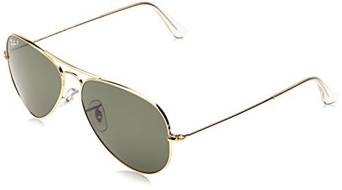 Ray-Ban 3025 Aviator Large Metal Non-Mirrored Polarized Sunglasses, Gold/Green, - Aviator 3025