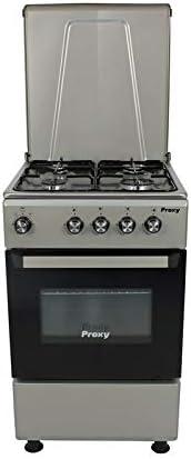 Cocina 50 cm de ancho con horno PROXY, color silver, 4 fuegos y horno con grill a gas (butano o natural).