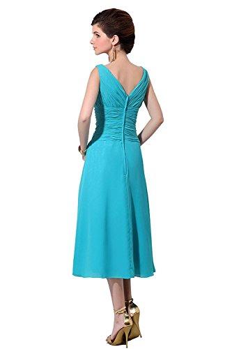 Gold Length The Bess Neck of Tea Chiffon V Women's Dress Bride Bridal Mother qT471R