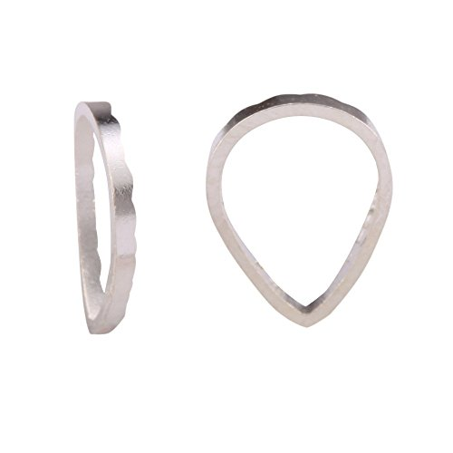 100 Top Quality Silver Teardrop Ring Charm Beads Connectors 8x6mm Sterling Silver plated Cooper CF128