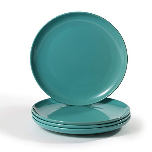 CeramicHome Porcelain Dinner Plate(10.5-Inch, 4-Piece), Stoneware Teal Blue Dinner Plates Set for 4 -