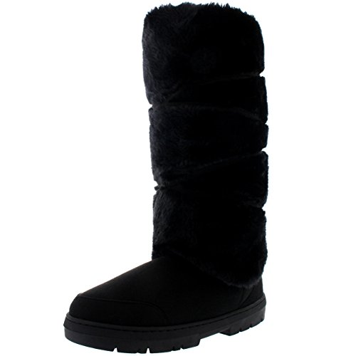 Womens Tall Knee High Fixed Lace Wrap Winter Snow Rain Boots - 7 - BLA38 (Fixed Wrap)