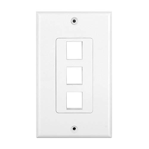 Ivory Dual Data Wall Plate (TNP Keystone Wall Plate (5 Pack) - 3 Port Keystone Insert Jack Single Gang Wiring Plug Socket Decorative Face Cover Outlet Mount Panel with Screws White)