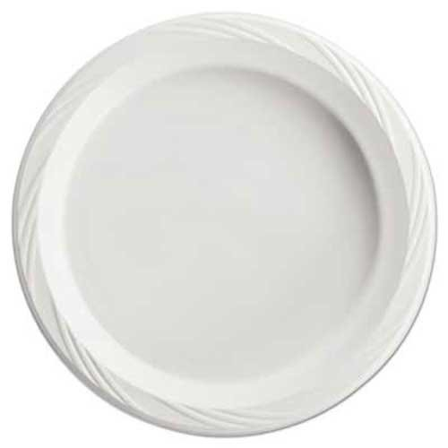 Chinet Plastic Plates, 10 1/4 Inches, White, Round, Lightweight, 125/Pack by Reg