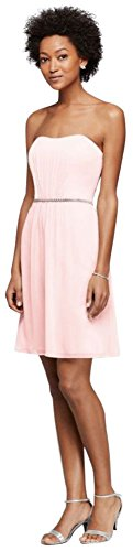 Chiffon Short Bridesmaid Dress with Beaded Belt Style F19228, Petal, 20
