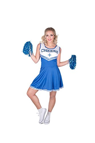 Cheap Halloween Costumes Accessories (Karnival Women's Blue Cheerleader Costume Set - Perfect for Halloween, Costume Party Accessory. Trick or Treating (L))