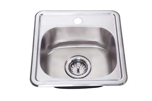 ZUHNE Drop-In Top Mount or Over Mount One Deck Hole Single and Double Bowl Stainless Steel Kitchen Sink (15x15 Single)