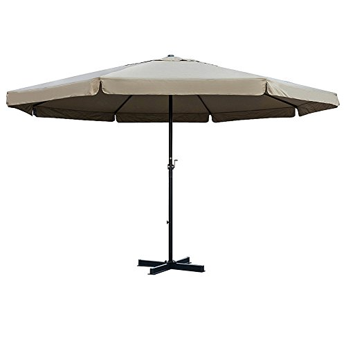 Sundale Outdoor 16 FT Aluminum Patio Umbrella Table Market Drape Umbrella with Crank and Cross Bar Set for Garden, Deck, Backyard, Pool, 8 Alu. Ribs, 100% Polyester Canopy (Tan)