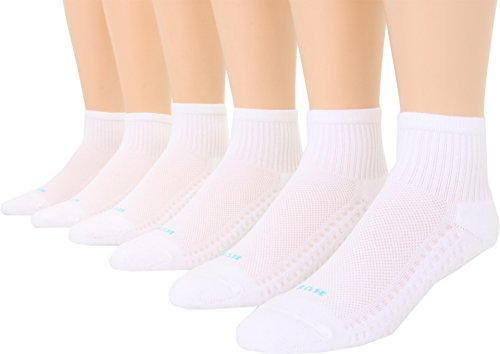 HUE Women's Air Cushion 3 -Mini Crew 6 Pack White 100/White Socks
