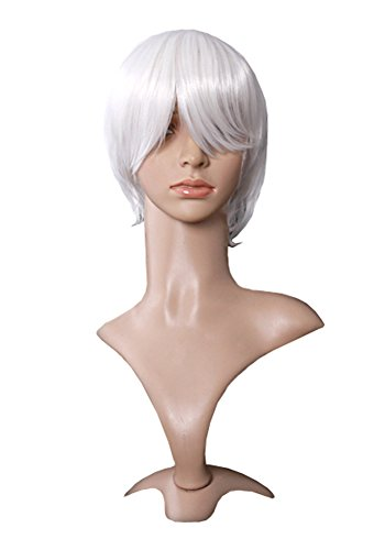 "MapofBeauty 12""/30cm Handsome Natural Short Straight Men's Wigs (White)"