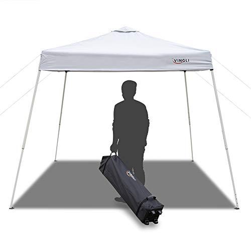 VINGLI 8.2'x 8.2'x 8.8' Height Slant Leg Pop Up Canopy,Folding Instant Outdoor Gazebo Party Tent, Portable Waterproof UV Coated Shade Shelter,Bonus Wheeled Carry Bag