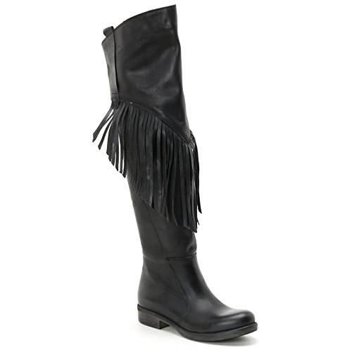 Leather Black With amp;Scarpe Alesya Boots Knee Scarpe In Fringing Over qfqw8g4p