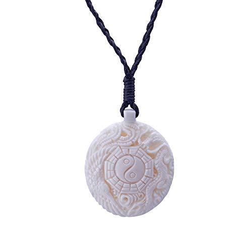 81stgeneration Women's Men's Hand Carved Bone Yin Yang Ching Taoist Dragon Phoenix Pendant Necklace