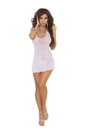 White Lace Halter Mini Dress-Queen Size