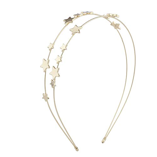Lux Accessories Gold Tone Double Wire Celestial Stars Girls Fashion Headband ()