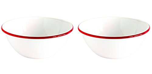 Crow Canyon Enamelware Serving Bowl White with Red Rim 8.5 Inches in Diameter By 3.2 Inches Tall 2 Rimmed Cereal Bowls