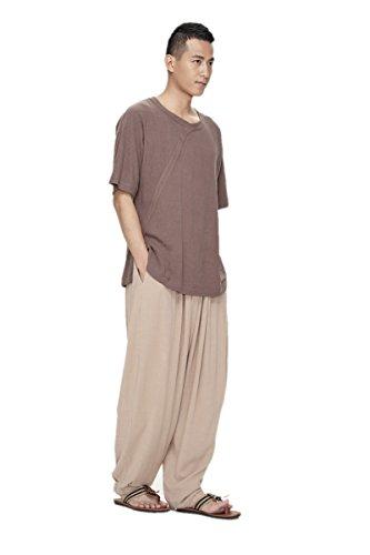 ZanYing Men Yoga Taichi Loose Pants Summer Casual Meditation Pants (M, Light Brown) by ZanYing