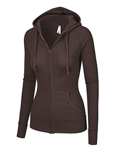 - OLLIE ARNES Women's Thermal Long Hoodie Zip Up Jacket Sweater Tops Thermal_Chocolate S