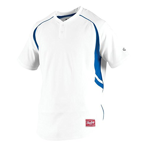 Rawlings Men's 2-Button Jersey, White/Royal, X-Large (Button Jersey Softball Two)