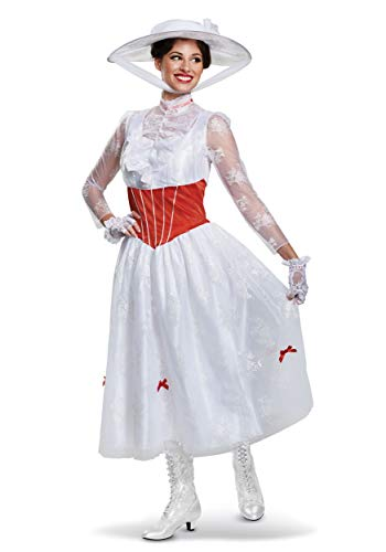 Disguise Women's Mary Poppins Deluxe Adult Costume, White L (12-14) -