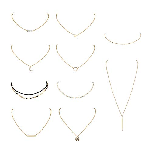 Finrezio 10 PCS Choker Necklace for Women Girls Dainty Gold Silver Plated Chain Heart Pearl Bar Bead Necklaces Set