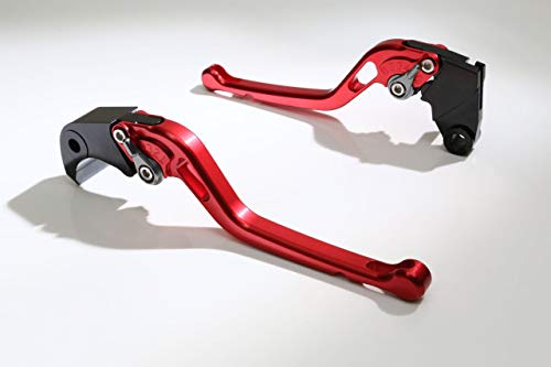 Autobahn88 Motorcycle Clutch + Brake Lever Set for Triumph : Thruxton R (2016-2017) (Long Style : Red+Titanium/Handle+Adjuster) ()