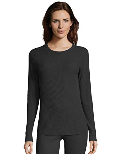 Knit Underwear Long Shirt Top - Hanes Women's Long Sleeve Thermal Waffle Knit Crew with FreshIQ and X-Temp Technology Black