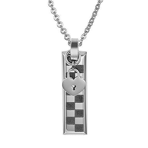 6139eea606d8 Envio gratis Daesar Collar Acero Inoxidable Collar Colgante Parejas Mujer  Hombre Collar Corazón Llave Cerradura Collar